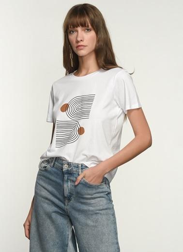 NGSTYLE NGKSS21TS0057 Baskılı Tişört Beyaz